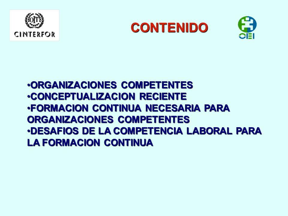 CONTENIDO ORGANIZACIONES COMPETENTES CONCEPTUALIZACION RECIENTE
