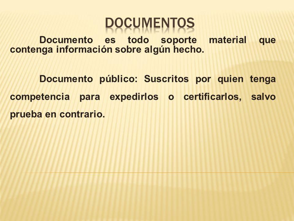 documentos Documento es todo soporte material que contenga información sobre algún hecho.