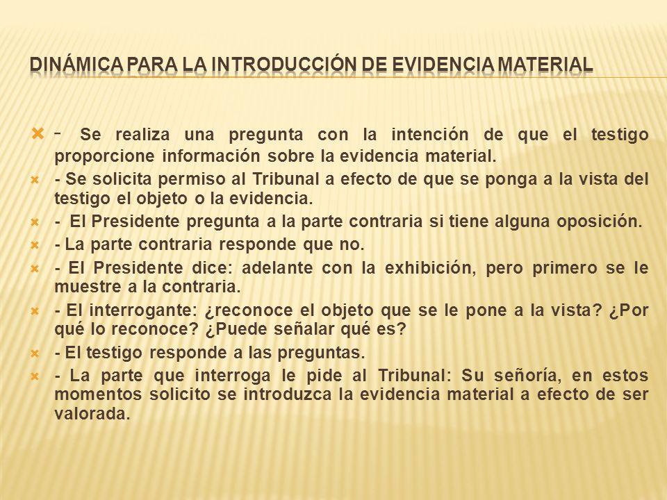 DINÁMICA PARA LA INTRODUCCIÓN DE EVIDENCIA MATERIAL