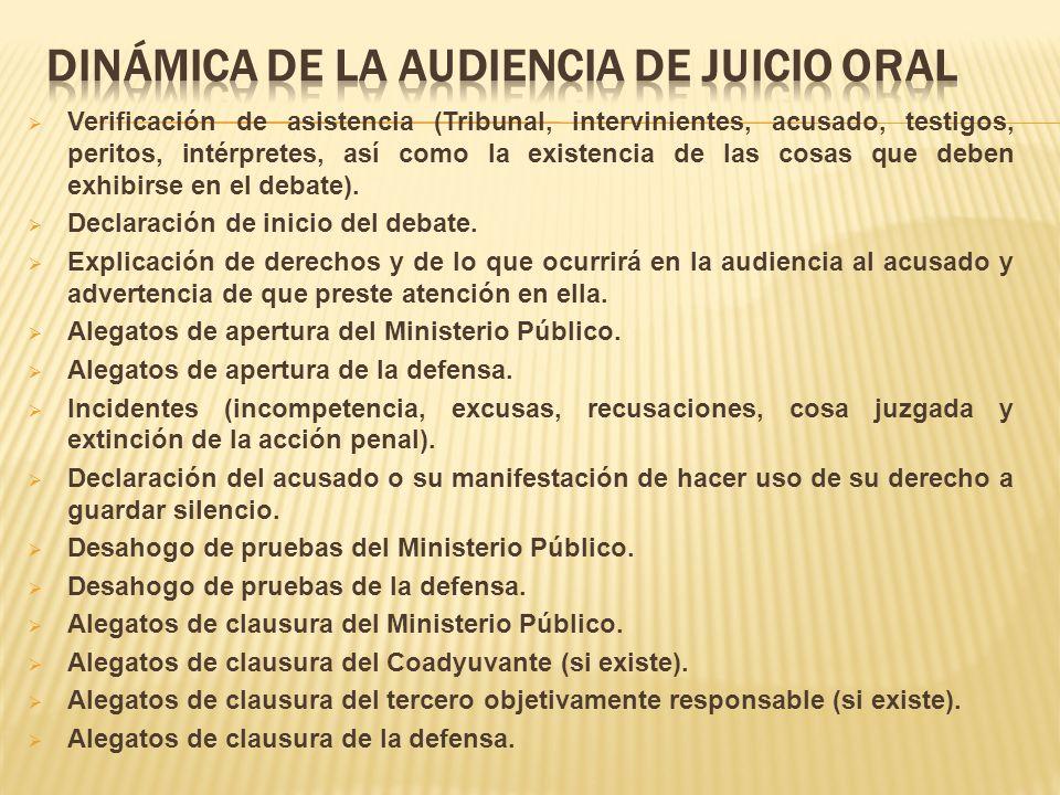 DINÁMICA DE LA AUDIENCIA DE JUICIO ORAL