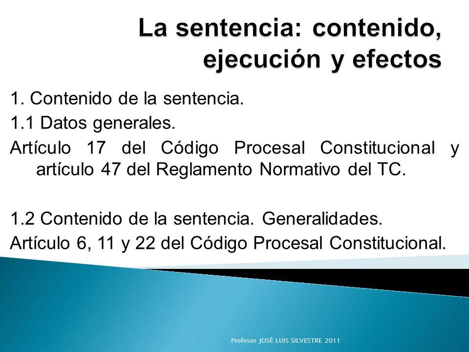 La sentencia: contenido, ejecución y efectos