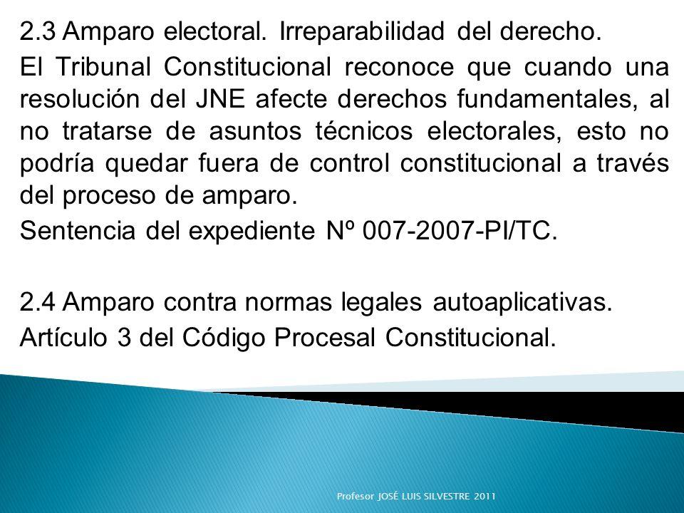 2.3 Amparo electoral. Irreparabilidad del derecho.