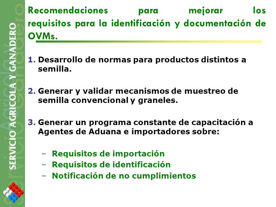 Recomendaciones para mejorar los requisitos para la identificación y documentación de OVMs.