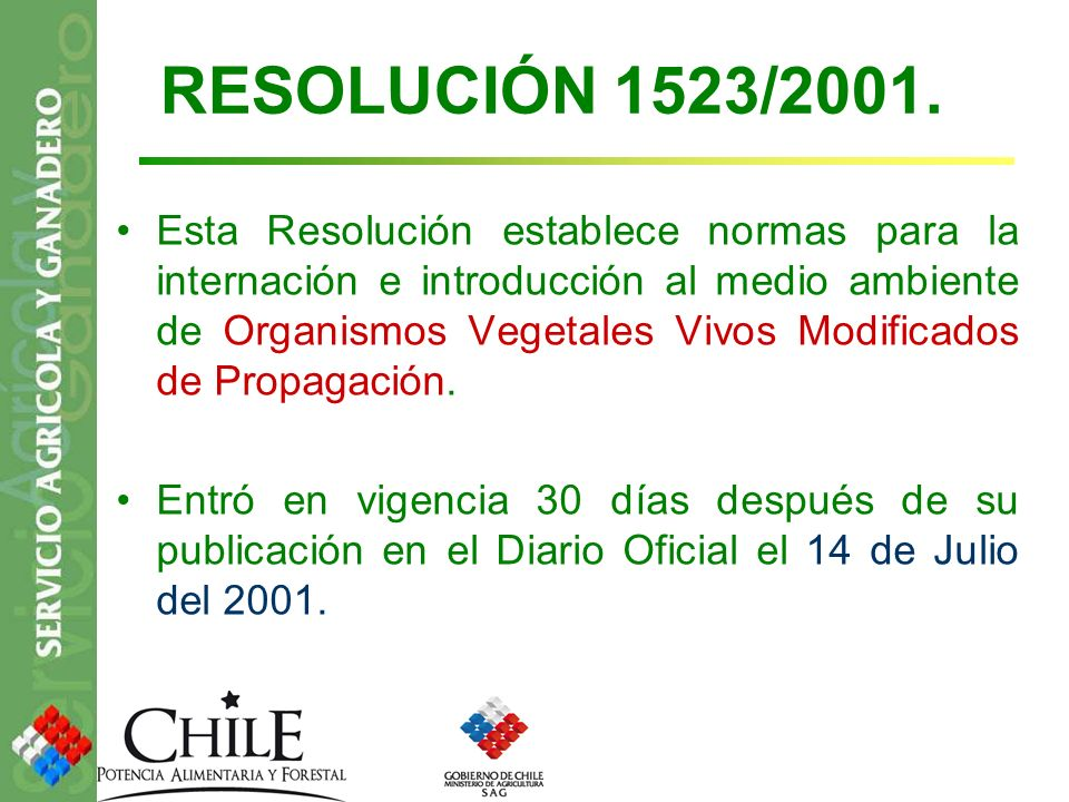 RESOLUCIÓN 1523/2001.