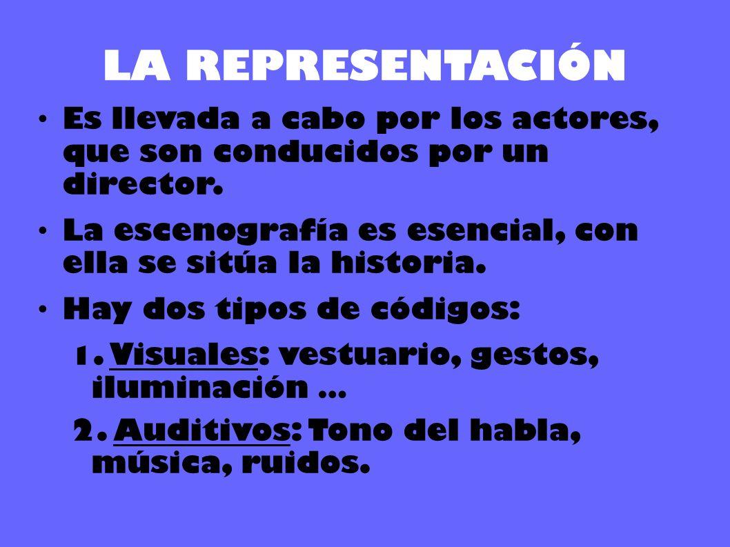 LA REPRESENTACIÓN Es llevada a cabo por los actores, que son conducidos por un director.