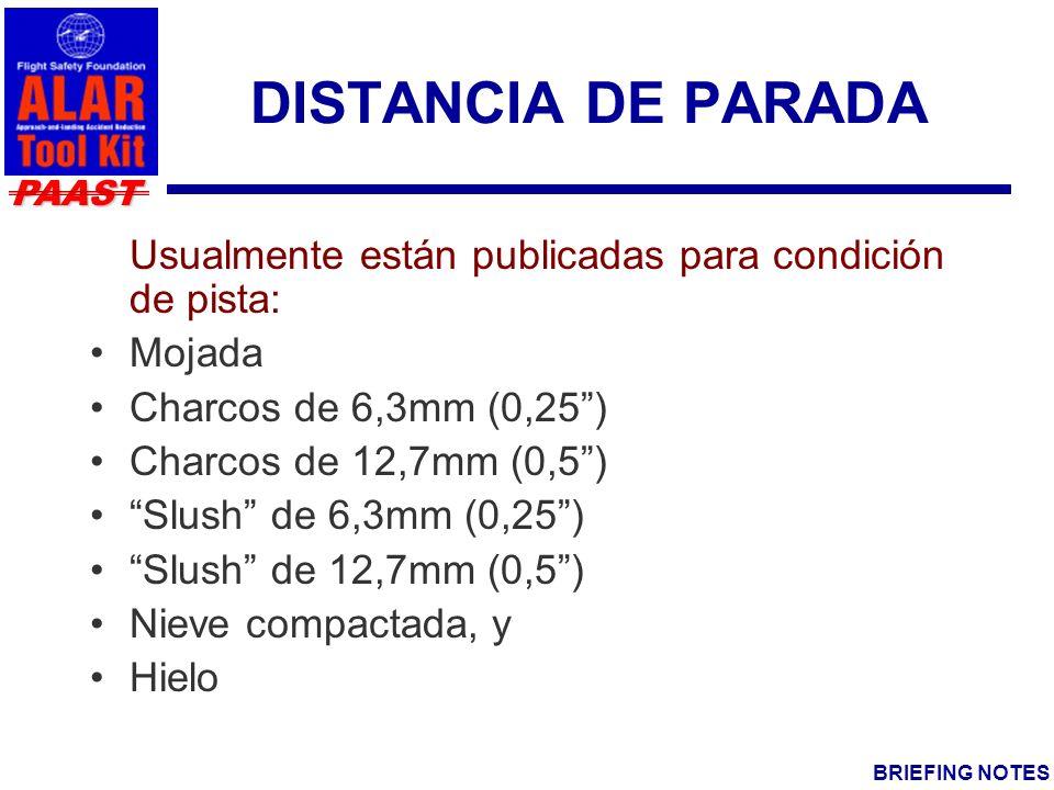 DISTANCIA DE PARADA Usualmente están publicadas para condición de pista: Mojada. Charcos de 6,3mm (0,25 )