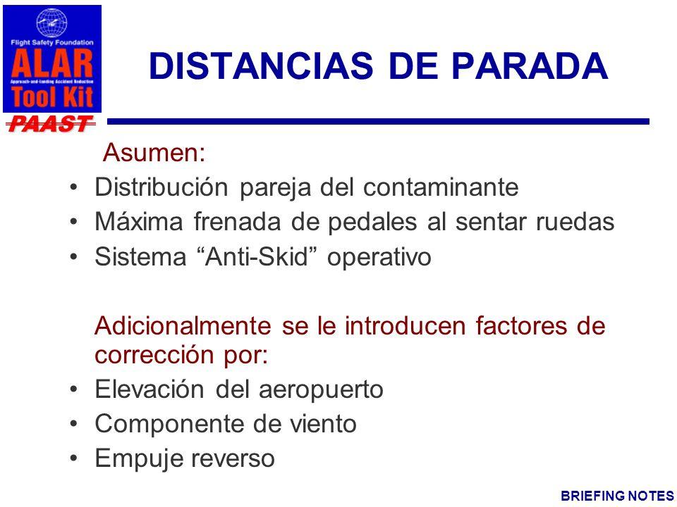 DISTANCIAS DE PARADA Asumen: Distribución pareja del contaminante