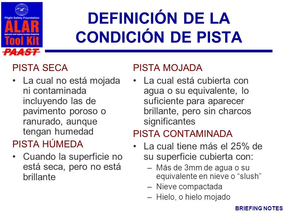 DEFINICIÓN DE LA CONDICIÓN DE PISTA