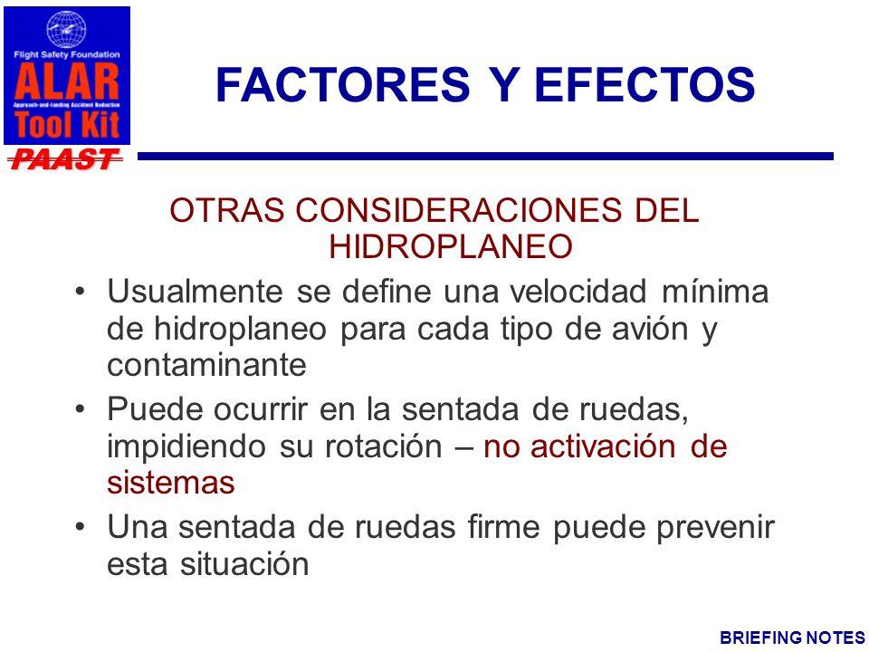 OTRAS CONSIDERACIONES DEL HIDROPLANEO