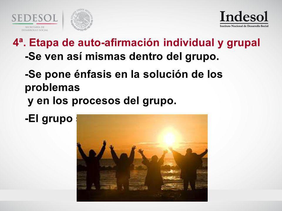 4ª. Etapa de auto-afirmación individual y grupal
