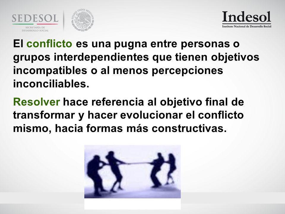 El conflicto es una pugna entre personas o grupos interdependientes que tienen objetivos incompatibles o al menos percepciones inconciliables.