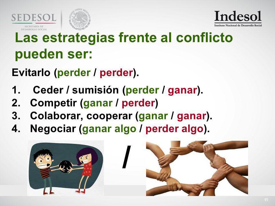 / Las estrategias frente al conflicto pueden ser: