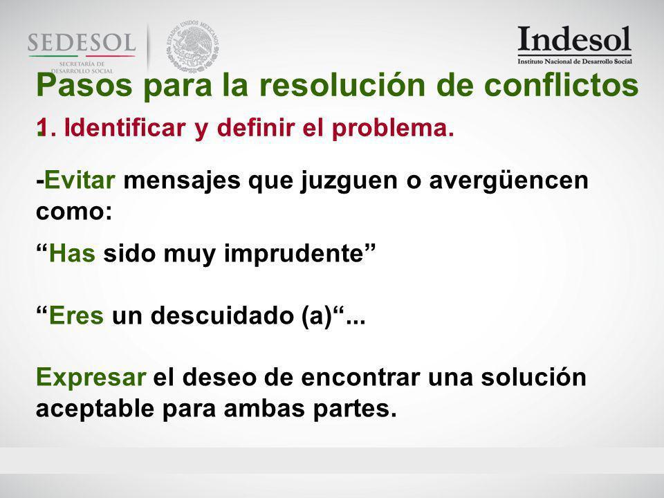 Pasos para la resolución de conflictos .