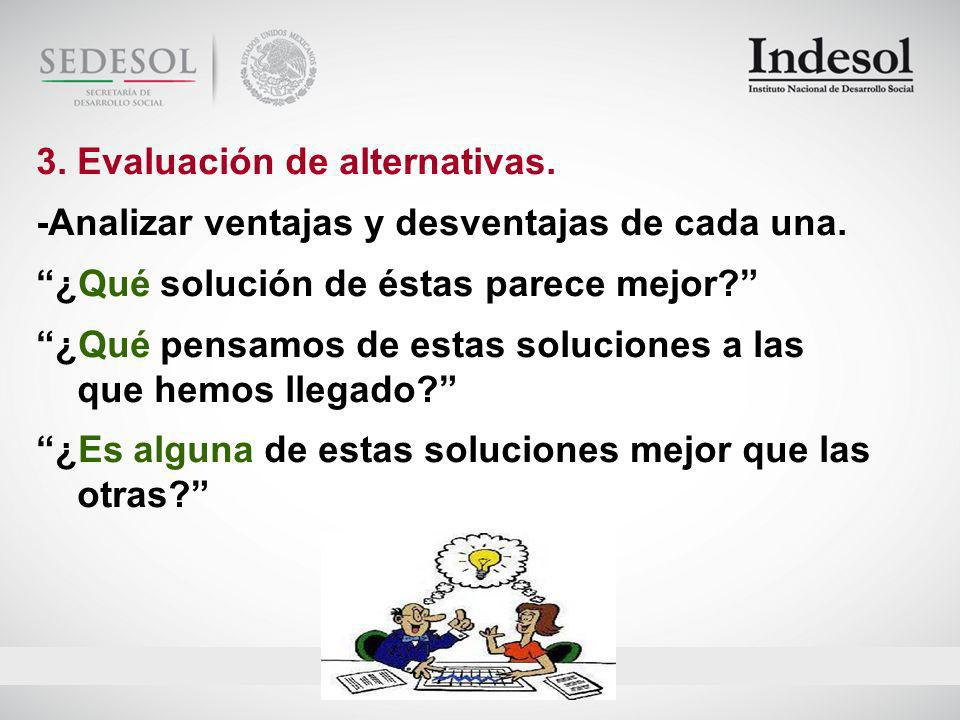3. Evaluación de alternativas.