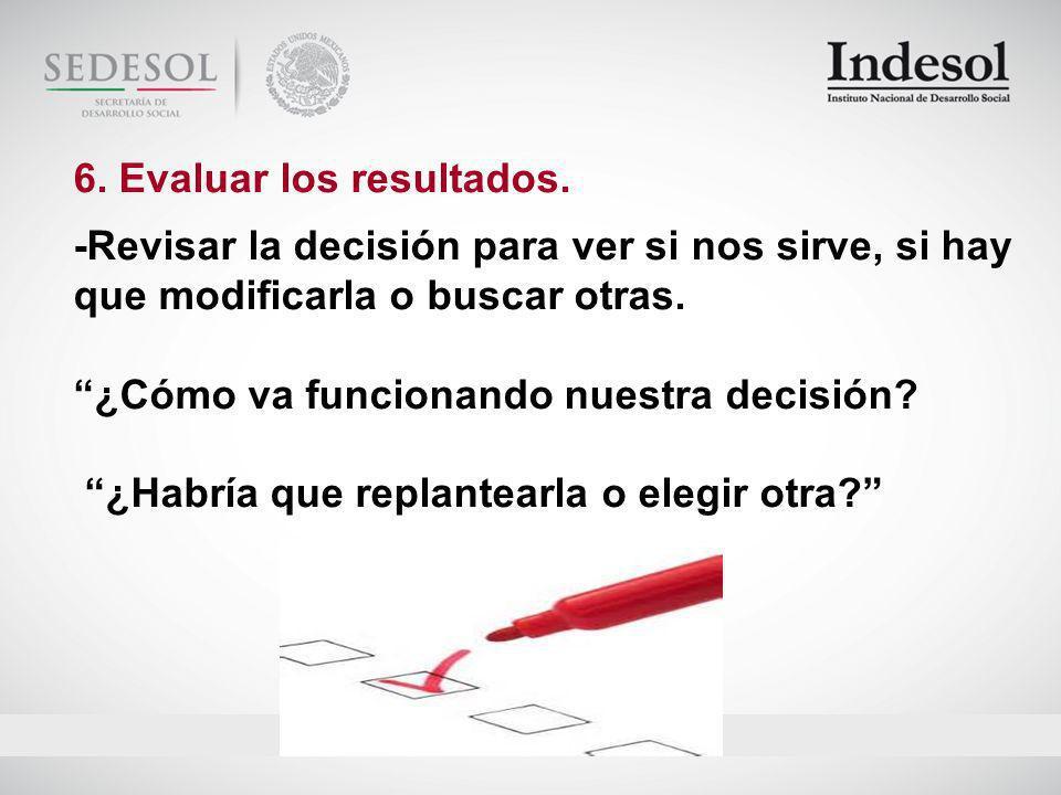 6. Evaluar los resultados.