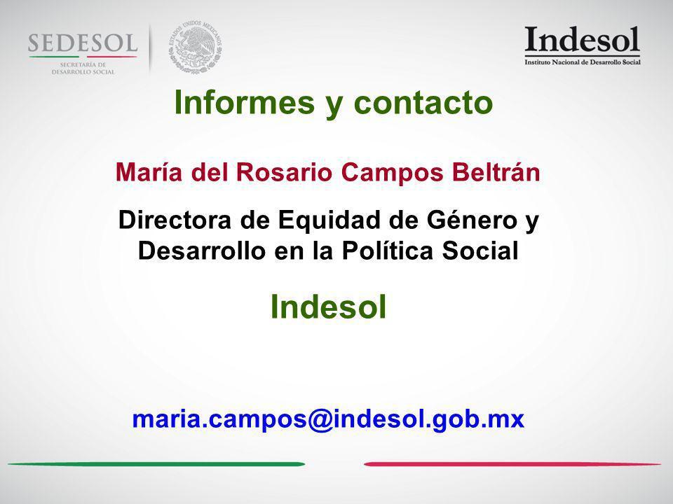 Informes y contacto Indesol María del Rosario Campos Beltrán