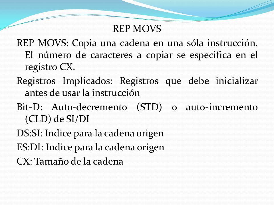 REP MOVS REP MOVS: Copia una cadena en una sóla instrucción