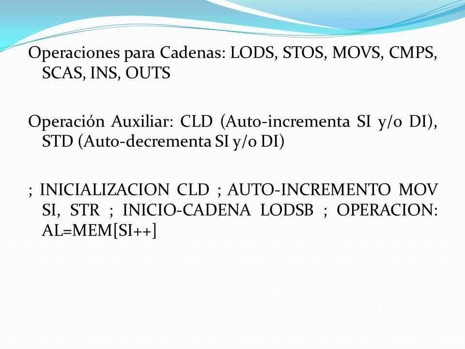 Operaciones para Cadenas: LODS, STOS, MOVS, CMPS, SCAS, INS, OUTS