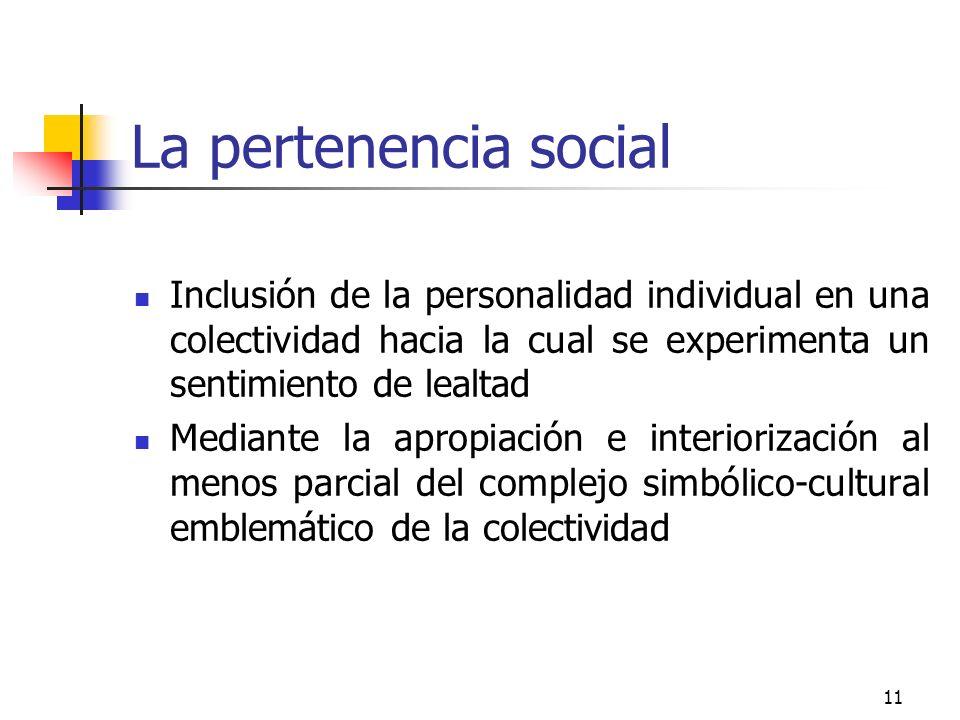 La pertenencia social Inclusión de la personalidad individual en una colectividad hacia la cual se experimenta un sentimiento de lealtad.