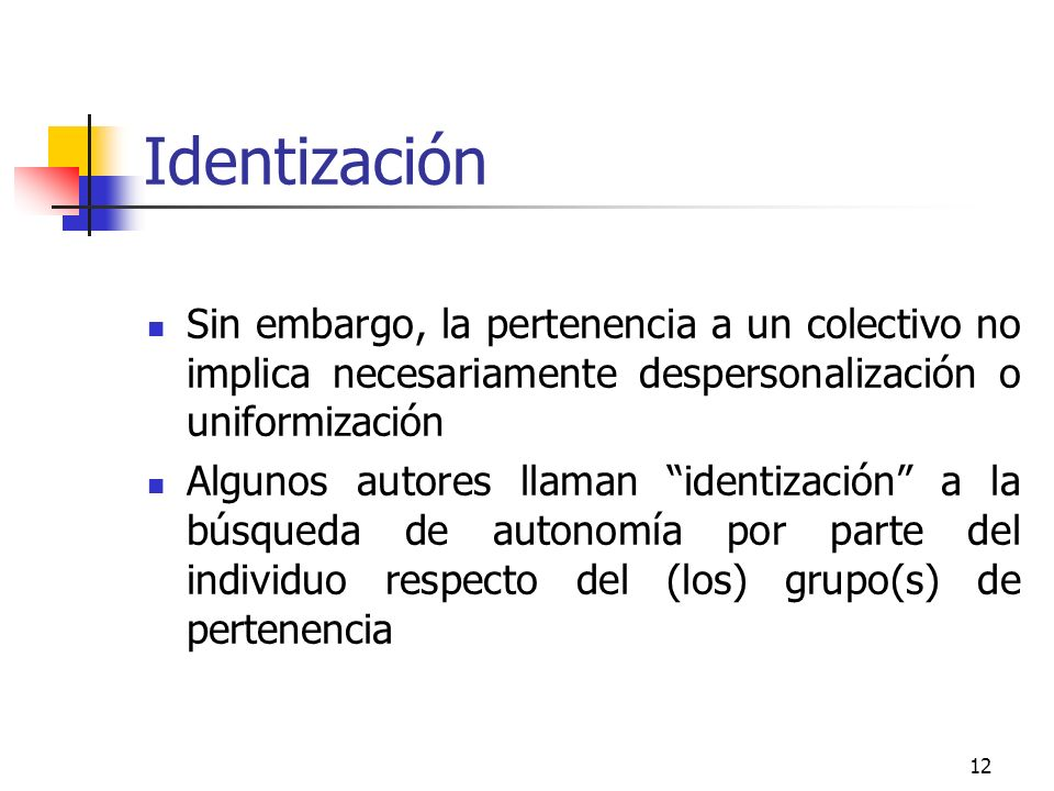 Identización Sin embargo, la pertenencia a un colectivo no implica necesariamente despersonalización o uniformización.
