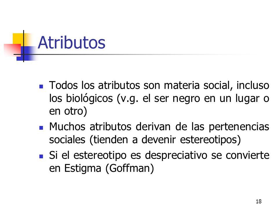 Atributos Todos los atributos son materia social, incluso los biológicos (v.g. el ser negro en un lugar o en otro)