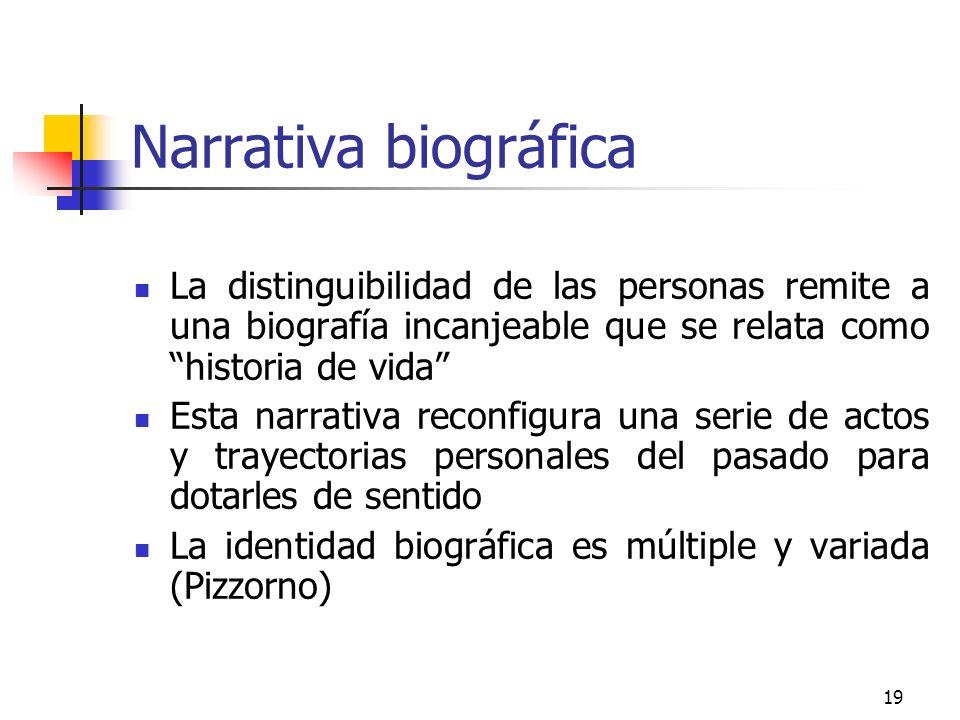 Narrativa biográfica La distinguibilidad de las personas remite a una biografía incanjeable que se relata como historia de vida
