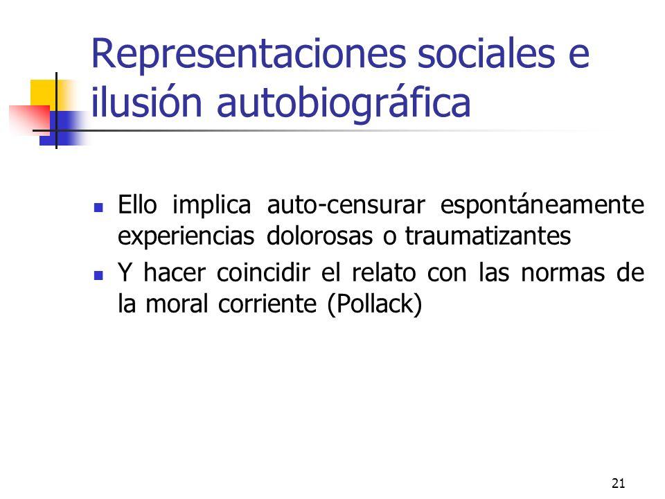 Representaciones sociales e ilusión autobiográfica