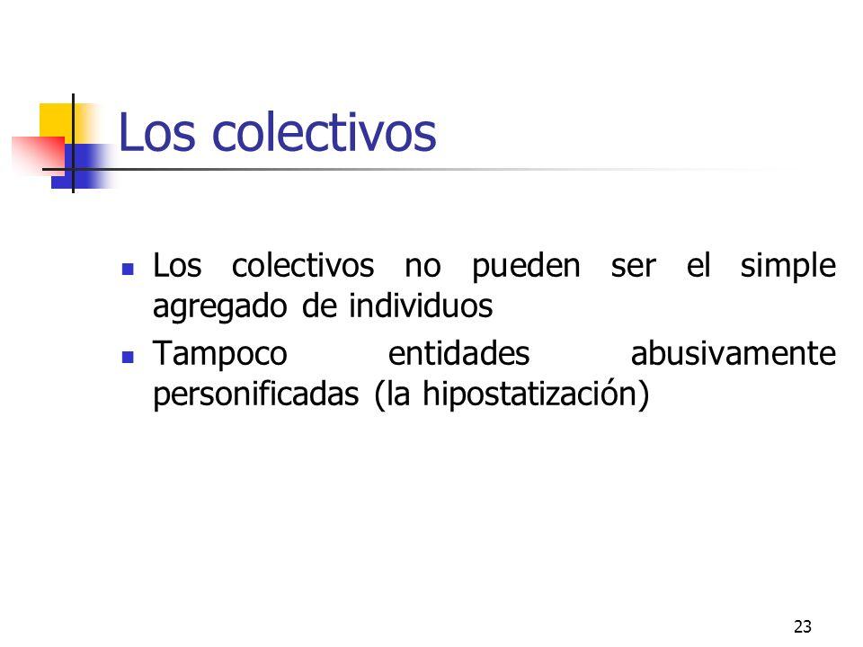 Los colectivos Los colectivos no pueden ser el simple agregado de individuos.