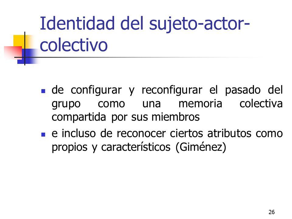 Identidad del sujeto-actor-colectivo