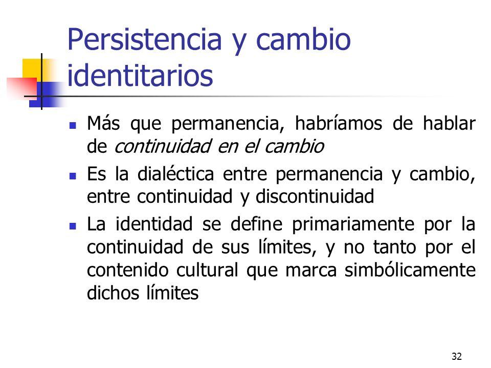 Persistencia y cambio identitarios