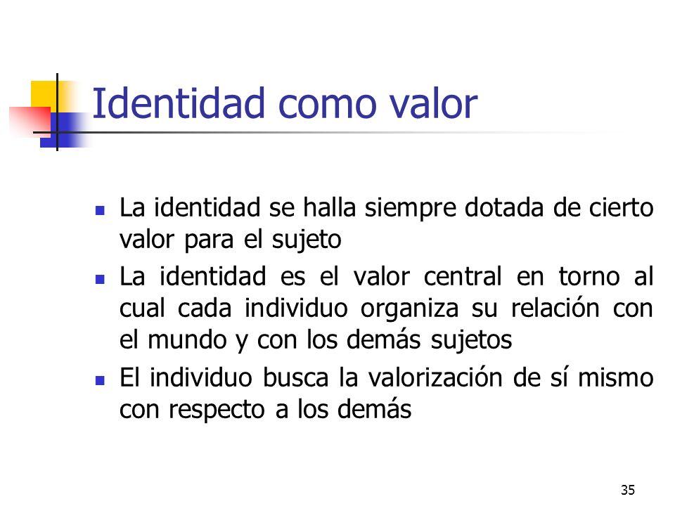 Identidad como valor La identidad se halla siempre dotada de cierto valor para el sujeto.
