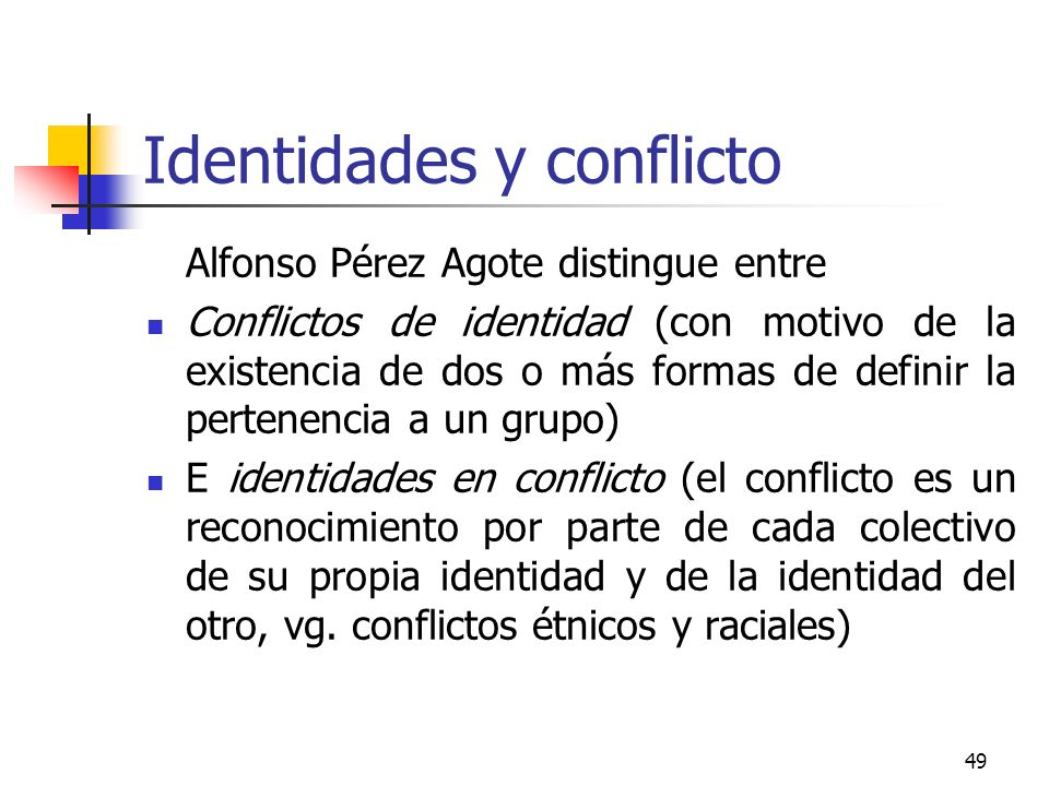 Identidades y conflicto