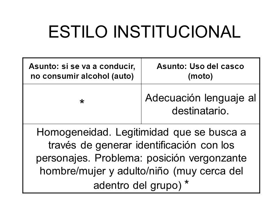 ESTILO INSTITUCIONAL * Adecuación lenguaje al destinatario.