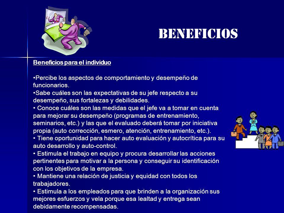 BENEFICIOS Beneficios para el individuo