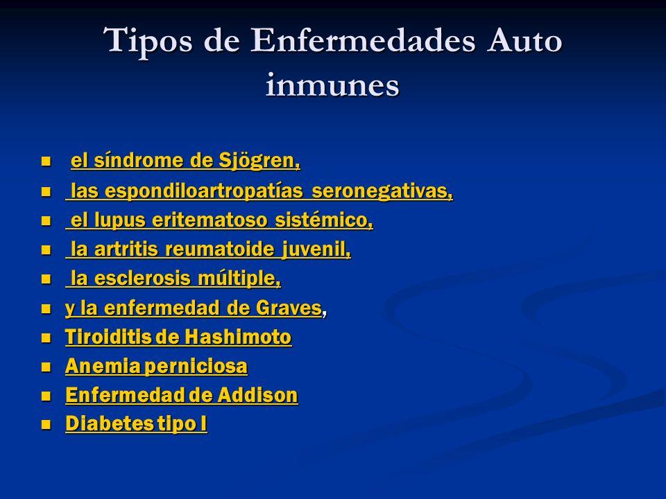 Tipos de Enfermedades Auto inmunes