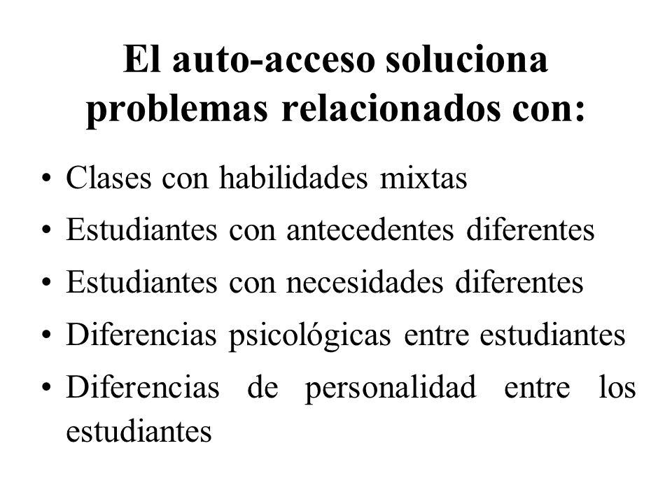 El auto-acceso soluciona problemas relacionados con: