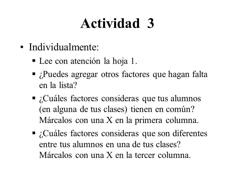 Actividad 3 Individualmente: Lee con atención la hoja 1.