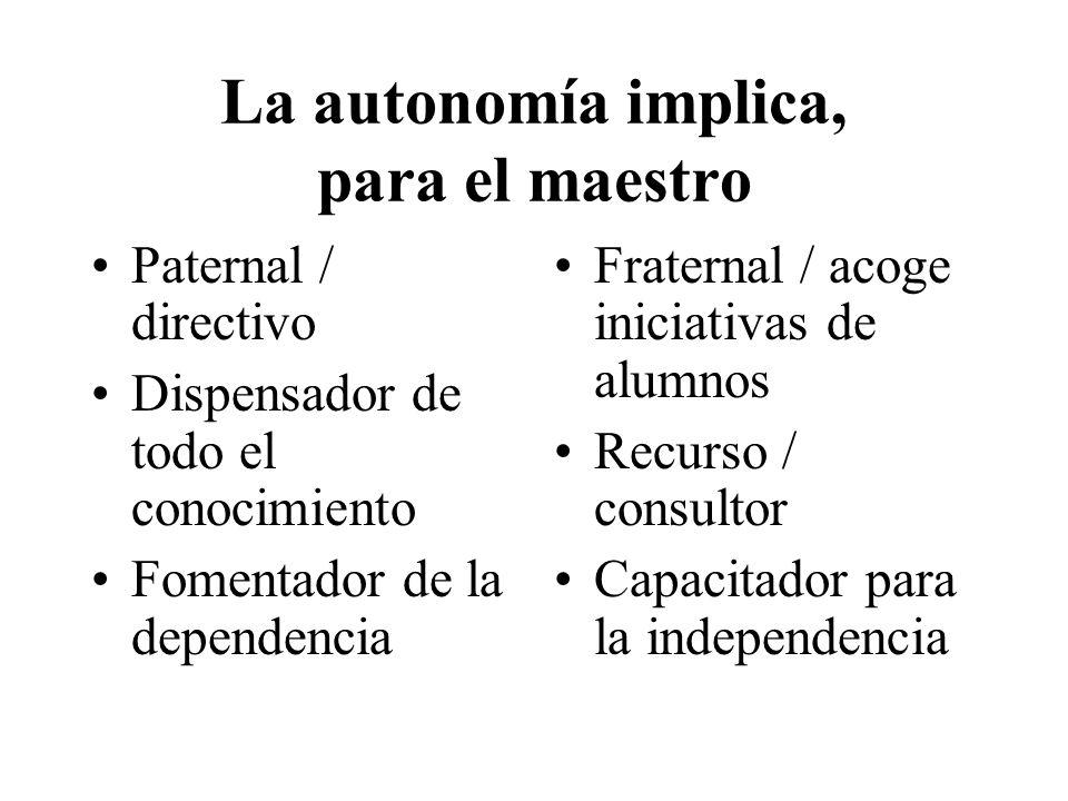 La autonomía implica, para el maestro