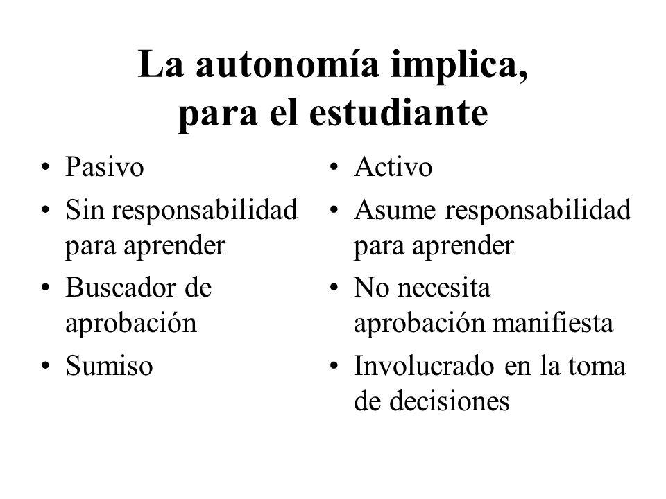 La autonomía implica, para el estudiante