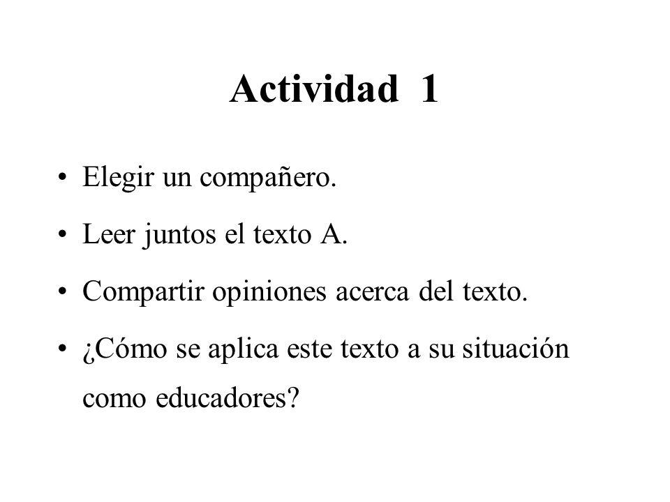 Actividad 1 Elegir un compañero. Leer juntos el texto A.