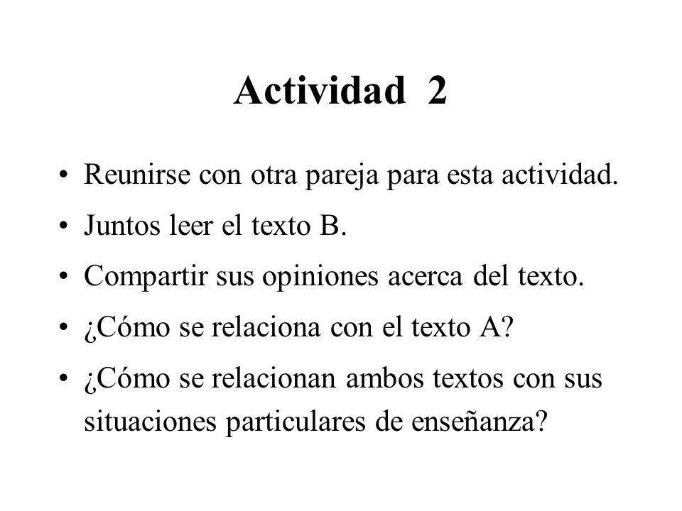 Actividad 2 Reunirse con otra pareja para esta actividad.