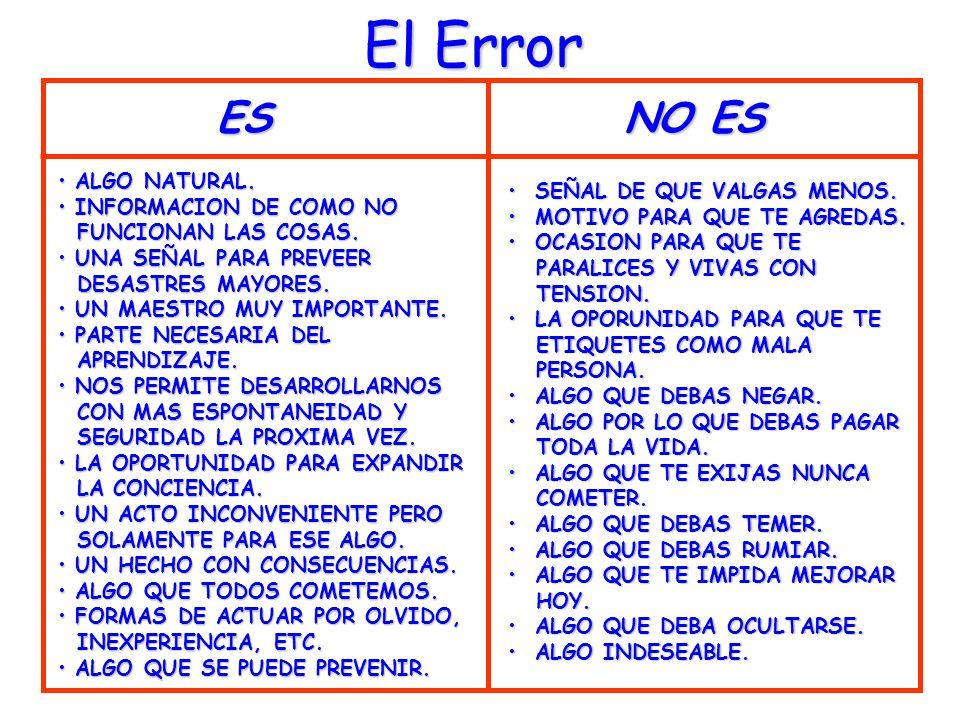 El Error ES NO ES ALGO NATURAL. SEÑAL DE QUE VALGAS MENOS.