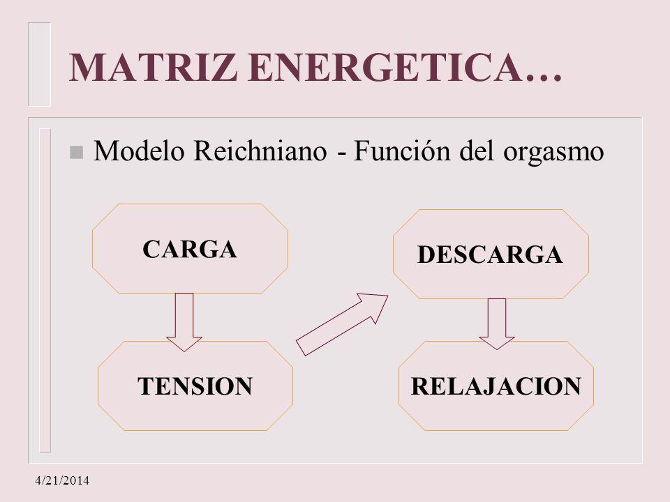 MATRIZ ENERGETICA… Modelo Reichniano - Función del orgasmo CARGA