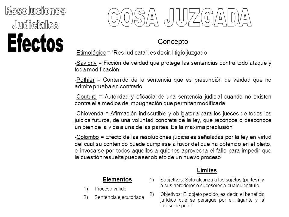 Resoluciones COSA JUZGADA Judiciales Efectos Concepto