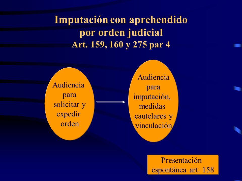 Imputación con aprehendido por orden judicial Art. 159, 160 y 275 par 4