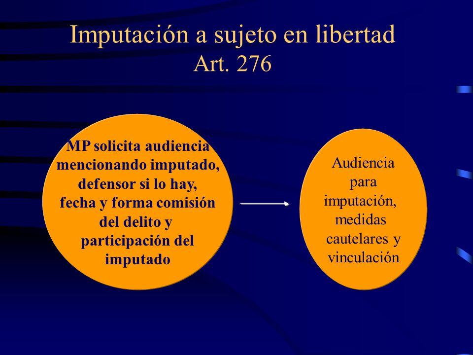 Imputación a sujeto en libertad Art. 276
