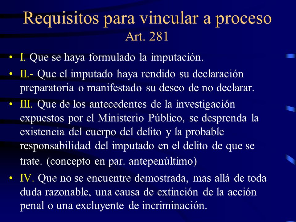 Requisitos para vincular a proceso Art. 281