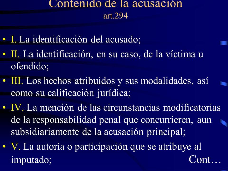Contenido de la acusación art.294