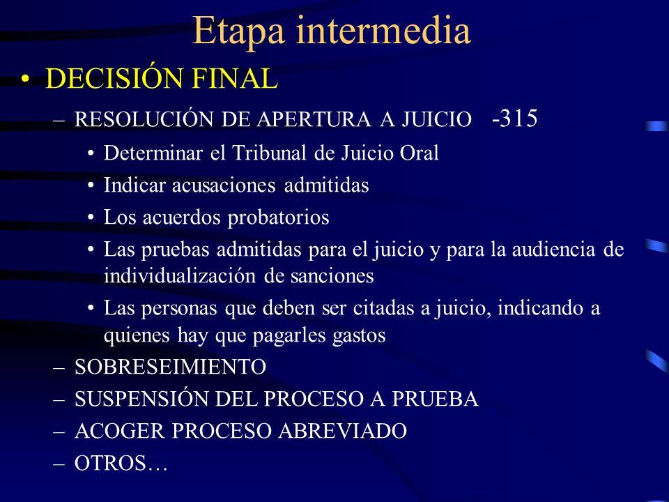 Etapa intermedia DECISIÓN FINAL RESOLUCIÓN DE APERTURA A JUICIO -315