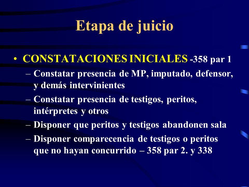 Etapa de juicio CONSTATACIONES INICIALES -358 par 1